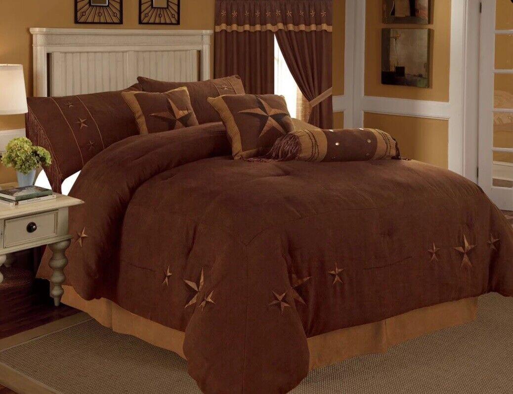 7 Piece Comforter Western Texas Embroiderot Star Rustic braun Set Königin, König
