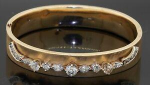 Antique-designer-signed-14K-gold-2-16CTW-VS-diamond-florentine-bangle-bracelet