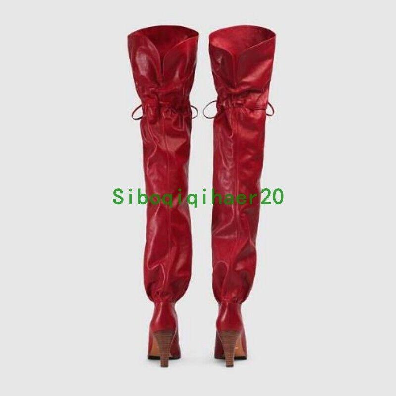 Runway occidental para Mujer Mujer para Bloque talón a la rodilla botas altas de cuero real club xyw dba6d3