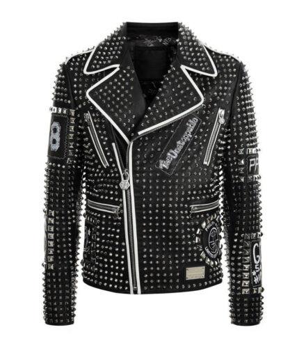 Vestes Clouté mode à Realsoft la Punk Argenté Plein Cuir Noir rqrS4U