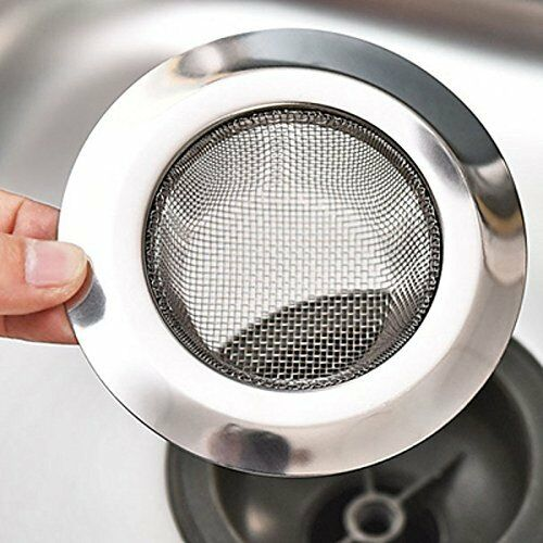 "Universal Stainless Steel Kitchen Sink Strainer Large Rim 4.5/"" Dia 1.5/"" Deep"