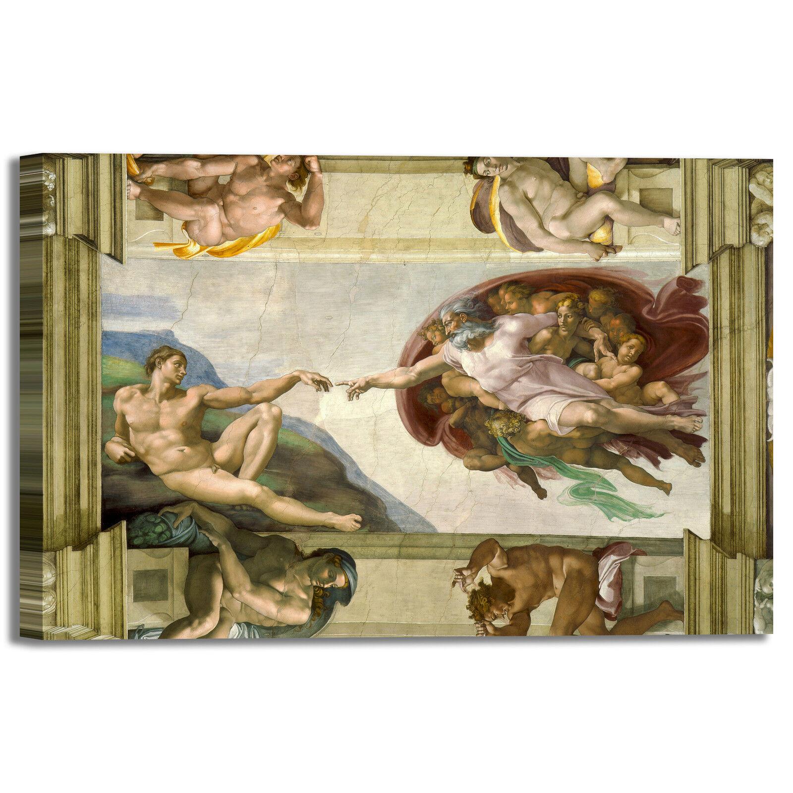Michelangelo soffitto Cappella Sistina quadro stampa tela dipinto telaio arrossoo