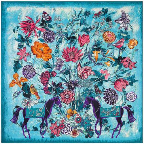 100/% sarga de seda bufanda fular caballos de Europa francés impresión Cuadrado Bufandas Chales