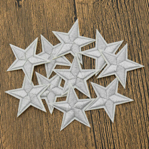 10 Pcs Star Embroidered Garment Applique Sew Iron on Patches Badges DIY Fabric