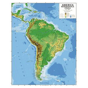 Cartina Fisica America Latina.Carta Geografica America Meridionale Plastificata Fisica Politica 100x140 Cm Ebay