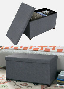 "NEW Atlantic Ottoman Hidden Storage 17x34"" GRAY coffee table bench seat chest"