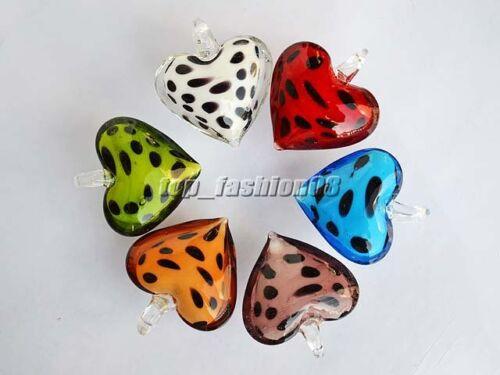 Wholesale Lots jewelry 6pcs Heart Handmade glass pendant Fit necklace FREE