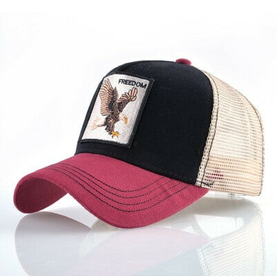 FREEDOM EAGLE Animal Cap Hat Farm Gift Funny Embroidery Pattern Hip Hop Mesh