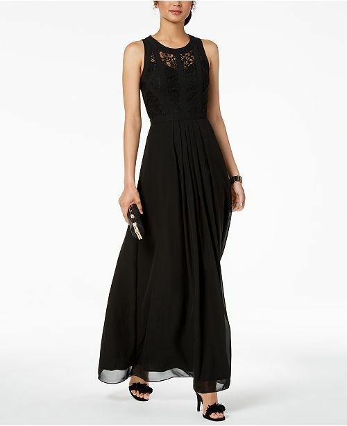 Betsy & Adam Caged Lace Gown, Petite Size 2P  H237