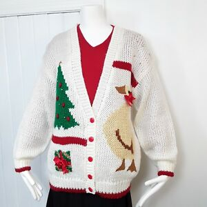 04d89316237d VINTAGE Womens Hand Knit Cardigan Sweater Goose Trees Ugly Christmas ...