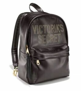 6c8a7c41f4c VICTORIA S SECRET GLAM ROCK CITY BLACK BACKPACK GOLD CHAIN STUDDED ...