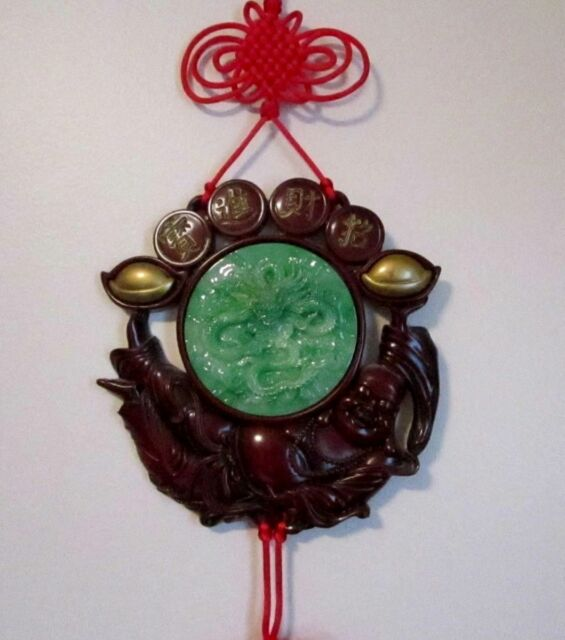 Asian Oriental Hotei Buddha Red Hanging Lucky Knots Carved Jade Dragon Wall Art