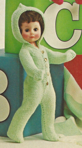 "Vintage Knitting PATTERN to make 13-18/"" Doll Clothes Hood Snow Suit Sweater Pixi"