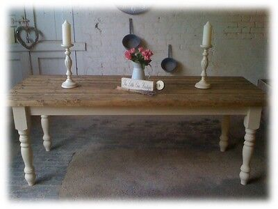 6ft Shabby Chic Farmhouse pine dining table.(Other sizes available 5ft, 7ft,8ft)