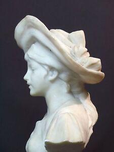 C 19èm Superbe Statue Sculpture Marbre 5.1k34c Jeune Femme Chapeau Statue Déco Citlchiy-12082159-219051575