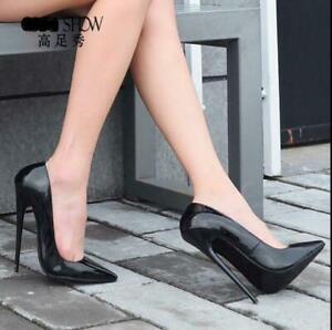 12CM-Womens-Stilettos-High-Heels-Patent-Leather-Pointy-Toe-Shoes-Pumps-Plus-size