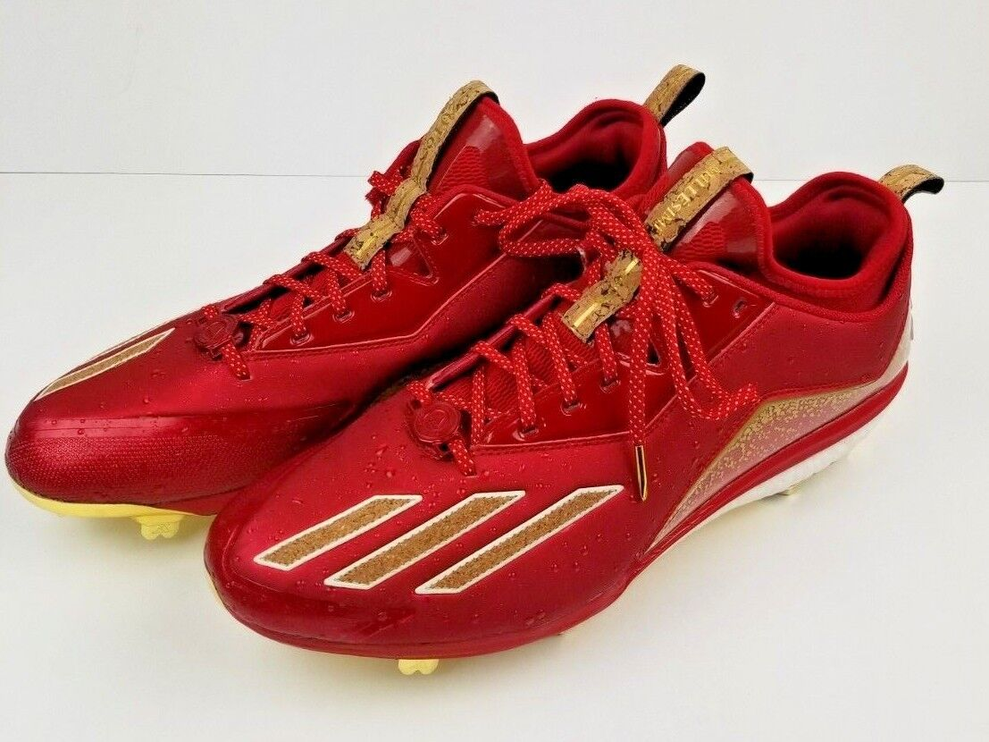 New Adidas Mens Energy Boost Icon 2 B42906 Red gold Cork Baseball Cleats Sz 13.5