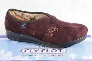 Fly-Flot-Mujer-Zapatillas-de-Casa-Pantuflas-Rojo-Vino-Forro-Calido-Nuevo