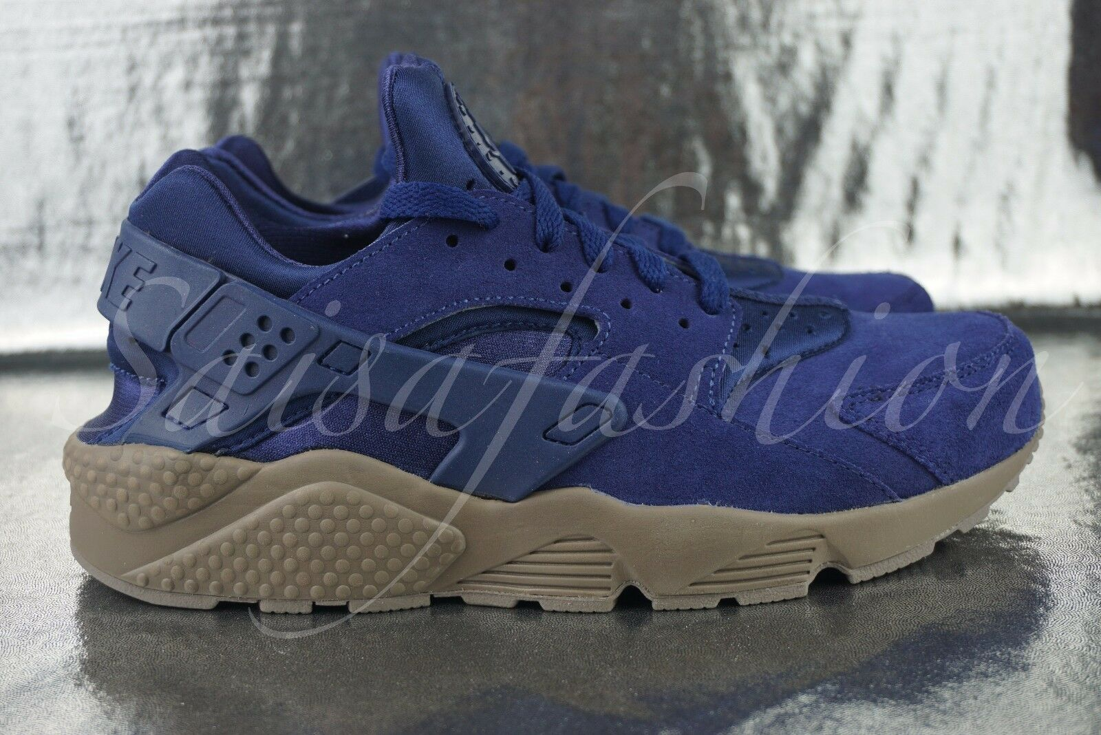 NIKE AIR HUARACHE RUN SE DARK BINARY BLUE SUEDE 852628 400 SZ 9