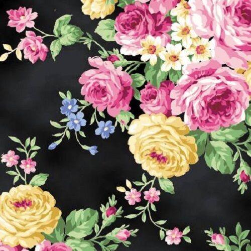 RuRu Rose Fabric BLACK Bouquet Tea Party Floral Quiltgate Designer Cotton