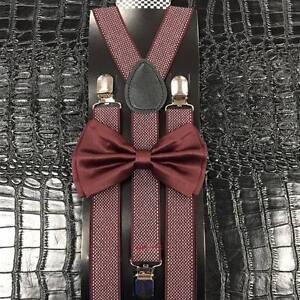 Burgundy Bow Tie Pattern Suspender Set Tuxedo Wedding Formal Mens