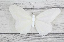 12 Medium Real Feather Butterflies Butterfly On Florist Wire Wedding Craft 7cm