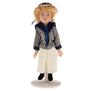 Dolls-house-Miniature-1-12th-Poseable-Shirt-Boy-Doll-Figure-People-w-Stand