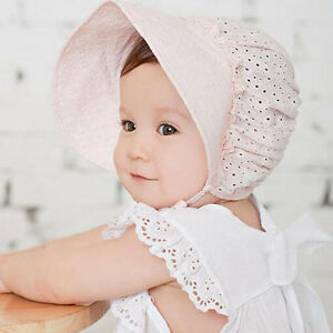 cf3a2b3533e Sweet Baby Bonnet Hat Lace-up Kids Girls Sun Hat Cotton Baby Caps ...