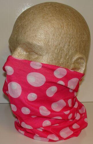 Pink White Polka Dots Tubular Multi Function Headwear Scarf Balaclava Beanie Cap