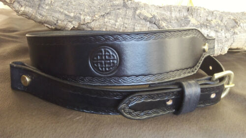 HAND MADE LEATHER COBRA stile Rifle Sling con celtica ROUND knot.any colore