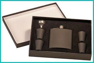6oz-Engraved-Black-Powder-Coated-Stainless-Steel-Flask-Set-w-4-shot-Glasses