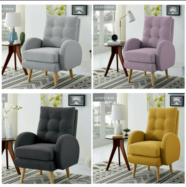 Remarkable Mordern Upholstered Accent Chair Club Seat Single Wingback Arm Sofa Living Room Machost Co Dining Chair Design Ideas Machostcouk
