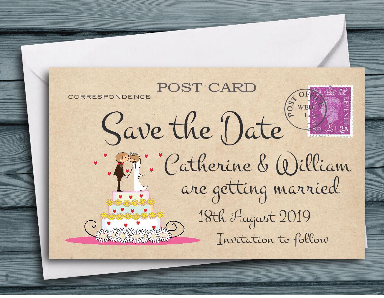 Save the Date aimants-Personnalisé Kissing Couple gateau de mariage avec enveloppes
