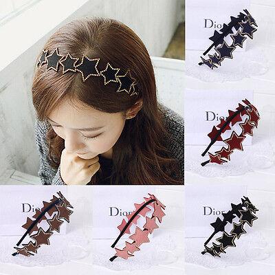 Women Girls Korea Pretty Man Same Style Rivet Five-star Bow Headband Hairband