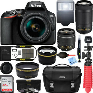 D3500-Nikon-Digital-SLR-Camera-18-55-amp-70-300mm-Dual-Zoom-Lens-32GB-Value-Bundle