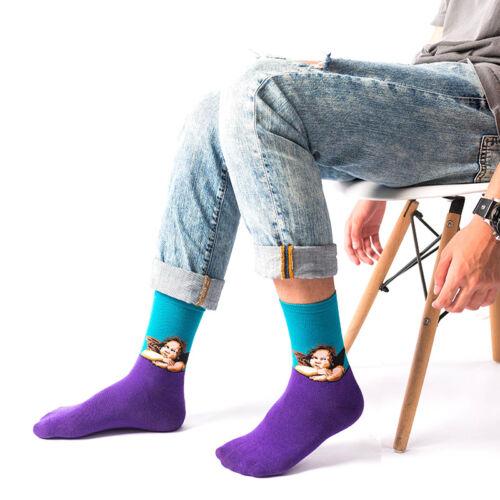 Fashion Men Women Painting Socks Art Funny Novelty Starry Night Retro Long Socks