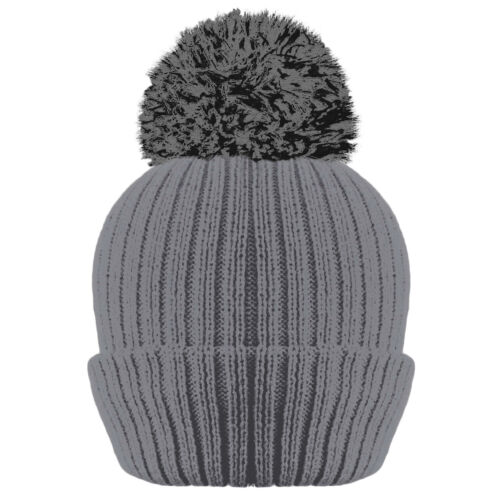 LADIES WOMENS RIBBED THINSULATE LINED BOBBLE WINTER PLAIN BEANIE POM POM HAT