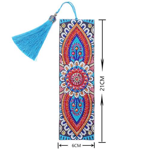Bookmark Diamond Painting 5D DIY Art Mosaic Leather Tassel Cross Stitch Marks