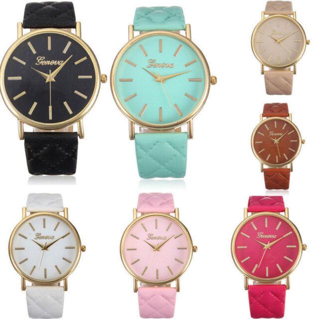 Fashion Women Geneva Roman Watch Lady Leather Band Analog Quartz Wrist Watch