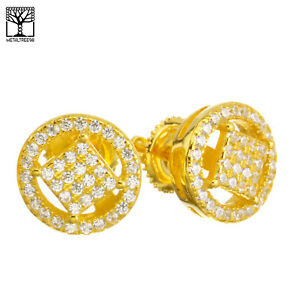 e04365bca Men's Iced 3D Gold Plated Micro Pave Round CZ Screw Back Earrings ...