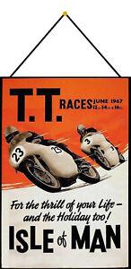 Tt-Races-1967-Isle-of-Man-Sign-with-Cord-Metal-Tin-7-7-8x11-13-16in-FA0309-K