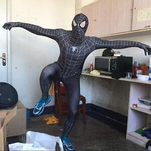 Black Spiderman Adult Zentai Suit Venom Cosplay Costume Halloween Men Catsuit