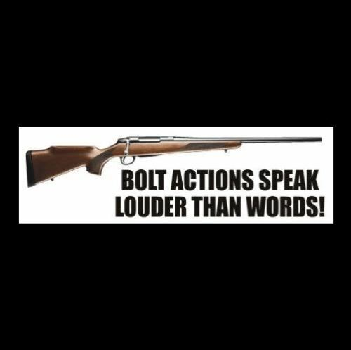 "/""BOLT ACTIONS SPEAK LOUDER THAN WORDS/"" gun rights BUMPER STICKER hunting NRA GOP"