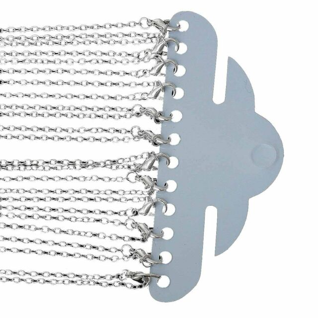 Rockin Beads 12 Pack Silver Plated Lobster Clasp Link Chain Necklaces 30 Inch
