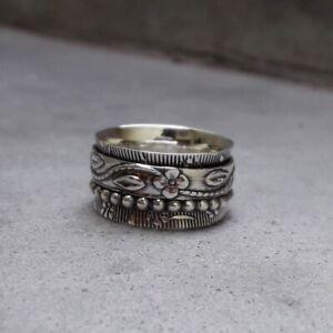 Solid-925-Sterling-Silver-Spinner-Ring-Meditation-Statement-Handmade-Ring-Sr246