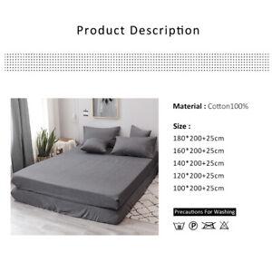 Drap-Housse-Coton-Lave-lit-luxe-entierement-profond-gris-100-Coton-5-Tailles-G