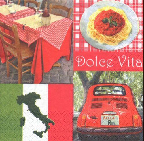 2 Serviettes en papier Italie La Dolce Vita coccinelle Paper Napkins Italy