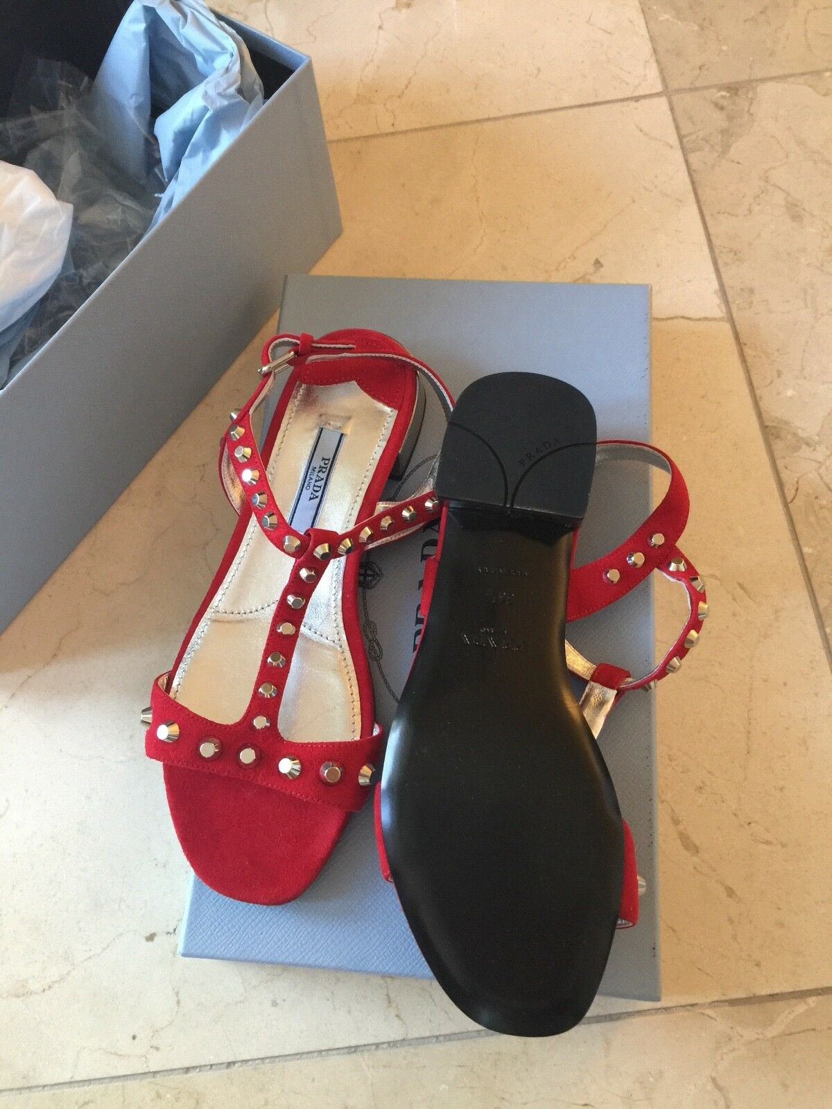 100% AUTHENTIC NEW NEW NEW WOMEN PRADA RED Suede with studs SANDALS US 6 4cf778