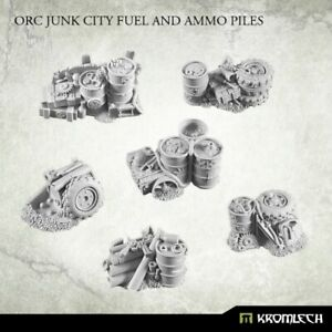 ORKS-orc-junk-city-fuel-and-ammo-piles-scenery-terrain-NEW-Kromlech