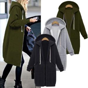 d8374cbe0 Details about Plus Size Women Hoodies Zip Up Jacket Coat Oversize Hoody  Hooded Fleece Outwear